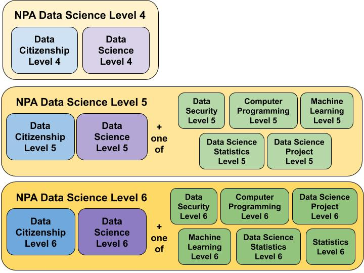 NPA Data Science core and optional units diagram for Levels 4, 5 and 6