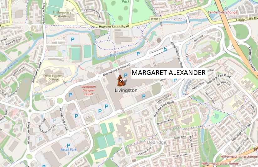 Map showing Margaret Alexander's Location