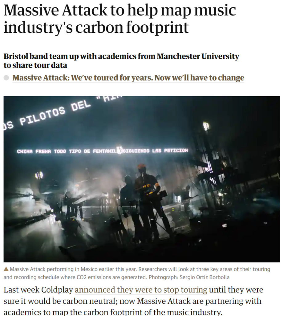 Decorative image of a news post with the title 'Massive Attack to help map music industry's carbon footprint'